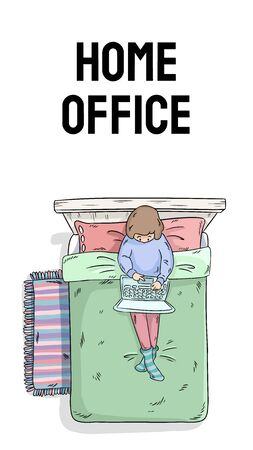 Home office vertical banner for social media and stories. Poster with typography. Girl working with laptop on the bed postcard. Comic style image