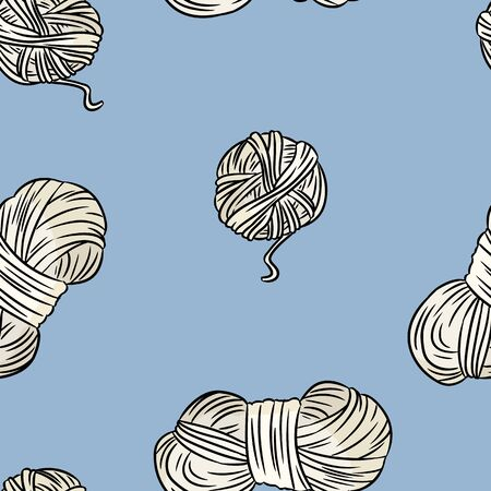 Cotton yarn comic style doodles top view seamless pattern. Cozy boho template background tile
