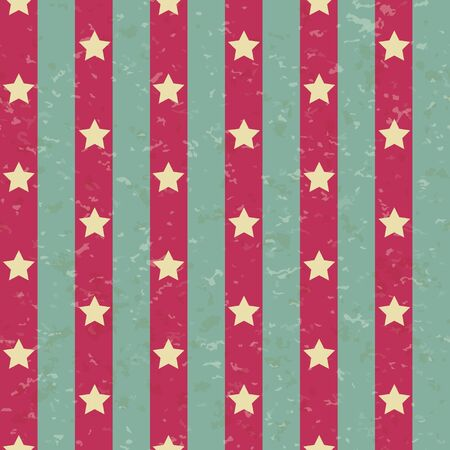 Circus carnival retro vintage stripes with stars seamless pattern. Textured old fashioned graphic template. Vector background tile. For parties, birthdays, decorative elements.