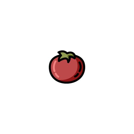 Tomato flat outlined icon. Vector vegetable logo isolated on white background. Vegan food symbol, media glyph
