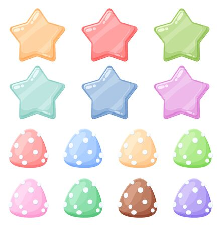 Set of cartoon colorful glossy stars and candies shiny icons. Stock game assets juicy elements. Vector game clip art isolated on white