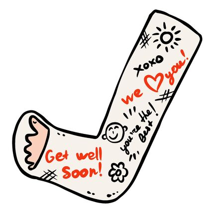 Broken leg cast doodle with positive writings from friends. Injured limb in gypsum plaster. Good get well soon wishes. Media glyph graphic icon