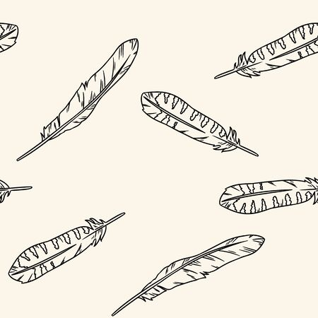 Boho feathers doodle black lineart seamless pattern. Freehand owl or hawk quill background. Vector illustration. Feather isolated on white background. Cozy lagom style texture tile Иллюстрация