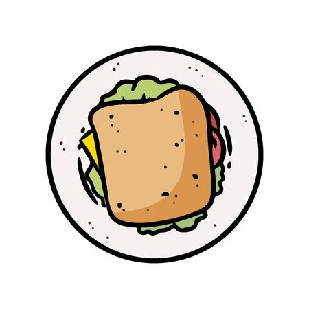 Doodle style cartoon grilled cheese sandwich illustration in vector format. Sandwich top view. Media highlights graphic symbol