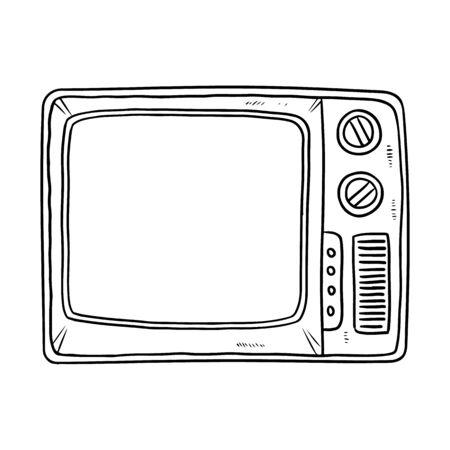 Retro TV doodle image. Cute vintage television black outline logo. Sketch lineart. Media highlights graphic vector symbol isolated on white background Ilustração