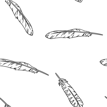 Boho feathers doodle black lineart seamless pattern. Freehand owl or hawk quill background. Vector illustration. Feather isolated on white background. Cozy lagom style texture tile  イラスト・ベクター素材