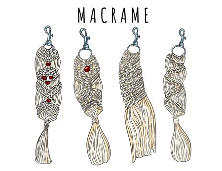 Set of macrame boho style keychains. Collection of textile knotting design charms. Linear modern indigenous macrame vector stock elements  イラスト・ベクター素材