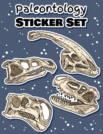 Sticker set with dinosaurs hand drawn skulls colorful doodles pack. Carnivorous and herbivorous fossils collection of labels. Vector stock illustration