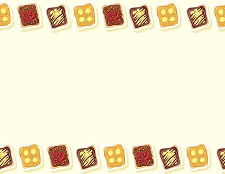 Toast bread sandwiches comic style seamless pattern. Sandwich with chocolate or peanut butter and banana doodles. Breakfast food. Letter format decoration background tile. Space for text