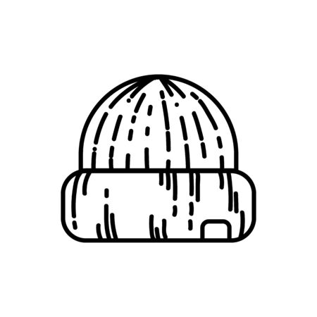 Hat flat line icon. Knitted jipster casual beenie cap. Clothing piece element vector stock isolated image on white background. Glyph pictogram for web, mobile