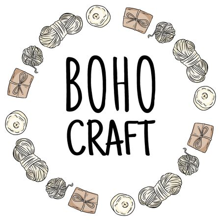 Boho craft  . Cotton yarn and brown craft boxes packages doodles in wreath composition. Handmade  design. Hand drawn cartoon handicraft vector stock image