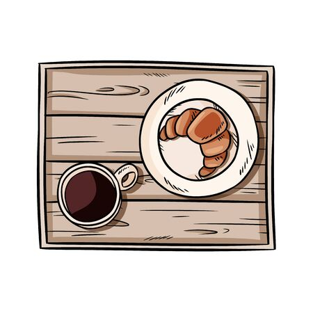 Breakfast to bed tray. Croissant with coffee on a decorative old wooden rustic tray doodle. Top view hand drawn illustration with black coffee and pastry. Vector isolated stock image