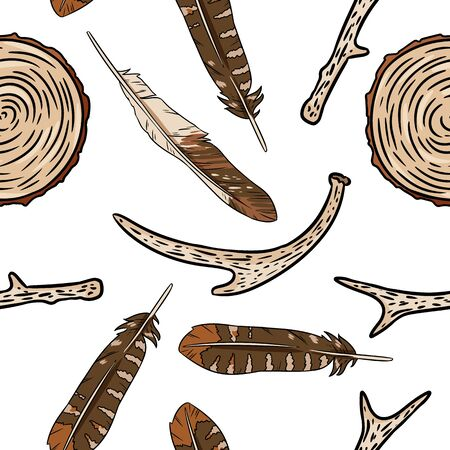 Boho elements, rustic sticks, wooden cut sections and feathers seamless pattern. Vector wallpaper. Cozy lagom style template texture background tile Illustration