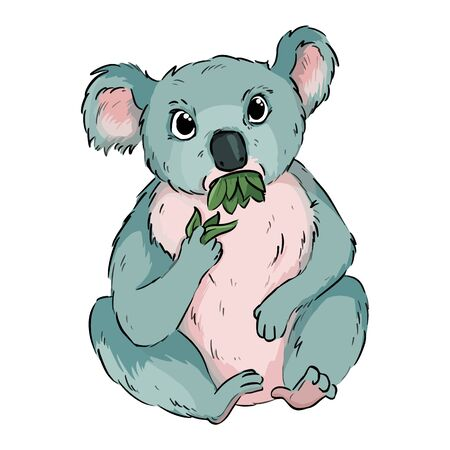 Koala eating eucalyptus cartoon doodle. Cute koala animal chewing leaves comic style drawing for children. Vector stock illustration