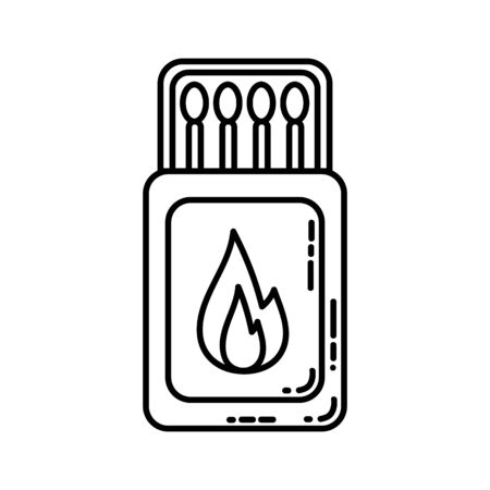Matches box flat line icon. Cardboard with matches camping or hiking element vector stock isolated image on white background. Glyph pictogram for web, mobile, infographics