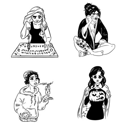 Set of hand drawn witches. Collection of black and white outline images of young magical females. Pendulum divination, Halloween or Samhain carved pumpkin. Vector art
