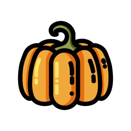 Pumpkin outlined icon. Vector vegetable logo isolated on white background. Vegan food symbol, media glyph