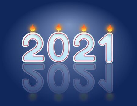2021 candles New Year celebration horizontal postcard design concept. Festive candles 일러스트