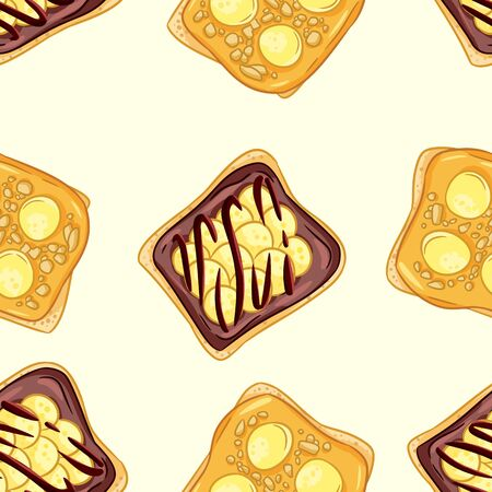 Toast bread sandwiches comic style seamless border pattern. Sandwiches with chocolate or peanut butter and banana wallpaper. Breakfast food background tile