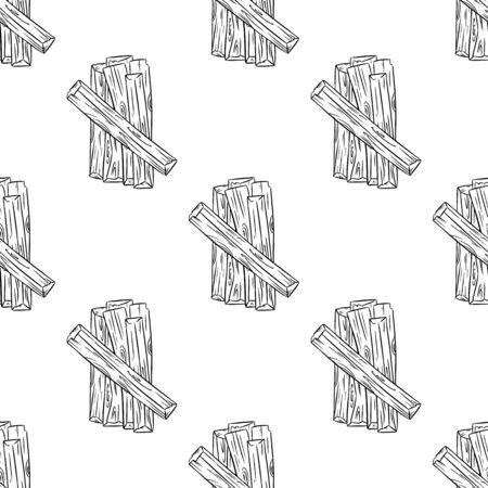 Sticks hand drawn boho seamless pattern. Palo santo herb bundle rustic black outline doodles background