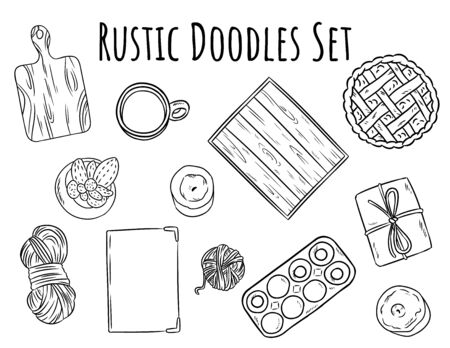Rustic decorative doodles set. Collection of boho home related isolated black outline objects. Wooden cut board, breakfast tray, homemade pie, yarn, craft box. Hand drawn vector stock designs