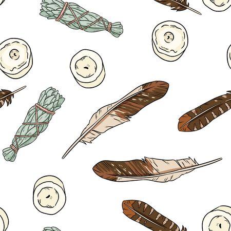 Sage smudge sticks and candles hand-drawn boho seamless pattern. Lavender, sage herb bundle background