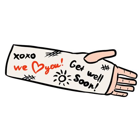 Broken arm cast doodle with positive writings from friends and family. Love concept. Injured limb in gypsum plaster. Good get well soon wishes. Media glyph graphic icon