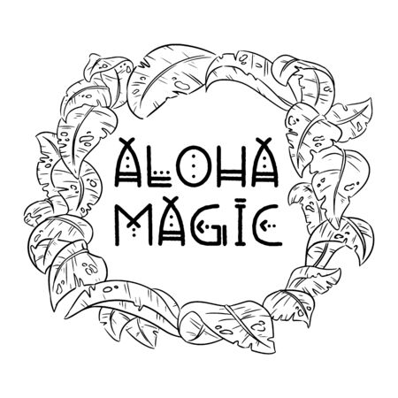 Aloha magic exotic tropical jungle leaves wreath border frame. Bohemian black and white palm tree and monstera leaves. Isolated design on white background. Place for text. Vector design art  イラスト・ベクター素材