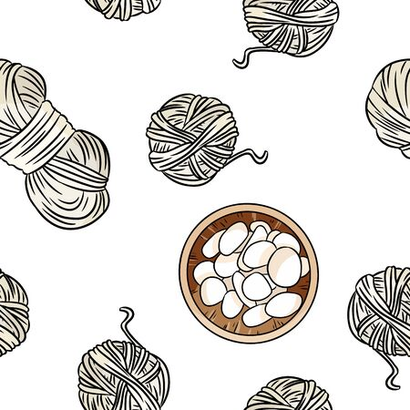 Bohemian seamless border pattern. Wooden bowls with white pebble stones and cotton yarn background. Boho hand drawn hygge wallpaper. Cozy lagom template texture tile. Stock vector art