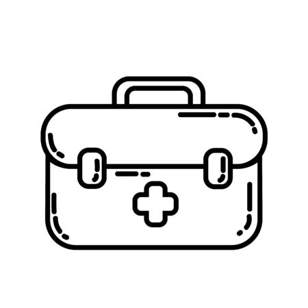 First aid kit box flat line icon. Medicine chest with white cross camping or hiking healthcare element vector stock isolated image on white background. Glyph pictogram for web, mobile and infographics