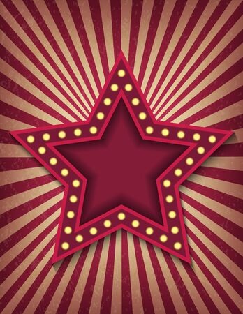 Brightly glowing star retro cinema neon sign. Circus style show vertical banner template. Background vector poster