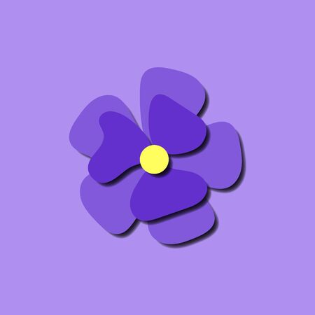 Paper cut cute pansy flower in paper art style on violet background. Origami style stock vector illustration trendy paper carved flat image