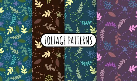 Set of abstract leaves and herbs retro seamless patterns. Cozy boho templates of stock illustrations for wrapping design, wallpaper, texture. Collection of boho background repeatable texture tiles  イラスト・ベクター素材
