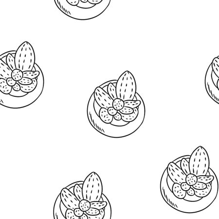Hygge potted cactus plants seamless border pattern. Cozy lagom scandinavian style succulent doodles top view texture background tile  イラスト・ベクター素材