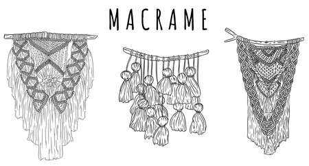 Set of macrame boho style wall hangers doodle sketches. Collection of textile knotting design elements. Simple outline modern indigenous craft  イラスト・ベクター素材