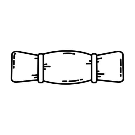Sleeping pad flat line icon. Sleeping bag roll camping or hiking element vector stock isolated image on white background. Glyph pictogram for web, mobile and infographics  イラスト・ベクター素材