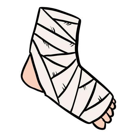 Broken leg cast doodle. Injured limb in gypsum plaster. Media glyph graphic icon  イラスト・ベクター素材