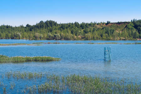 Summer landscape of the overgrown lake with overflooded beach tower in the middle of the water. Flooded sand quarry near Sychevo. Lush lake view