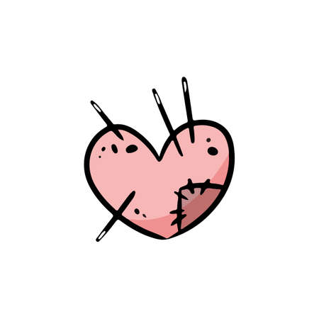 Pillow for needles in shape of a heart with a cute patch doodle. Sewing or tailoring tool single icon in cartoon style vector stock illustration. Cozy craft logo. Media highlights symbol