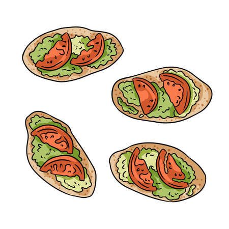 Set of toasts with pesto and tomatoes cute cartoon doodles. Detailed vegetarian sandwiches or tapas isolated on white background. Stock image of vegan snacks for breakfast or lunch. 向量圖像