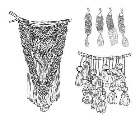 Set of macrame boho style wall hangers and keychains doodle sketches. Collection of textile knotting design elements. Simple modern indigenous craft 向量圖像
