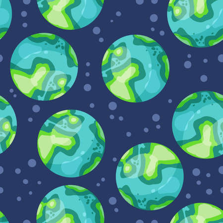 Stylized planets Earth abstract seamless space pattern background. Solar system planets children wallpaper texture tile. Vector stock illustration 向量圖像