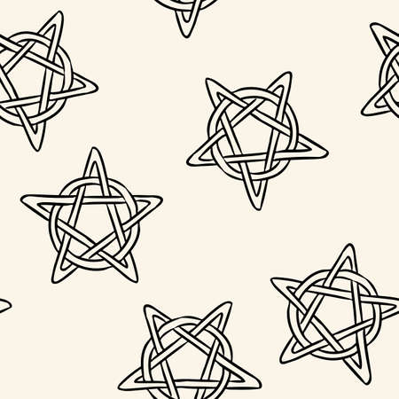 Magic pentagrams comic style doodles top view seamless pattern. Cozy wiccan pentacles stars boho template background tile