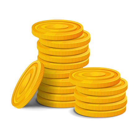 Golden coins pile. Colorful glossy money game asset. Vector image isolated on white background