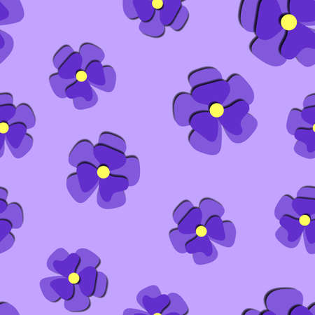 Paper cut cute pansy flower in paper art style on violet background seamless pattern. Origami style stock wallpaper trendy paper carved tile Vettoriali