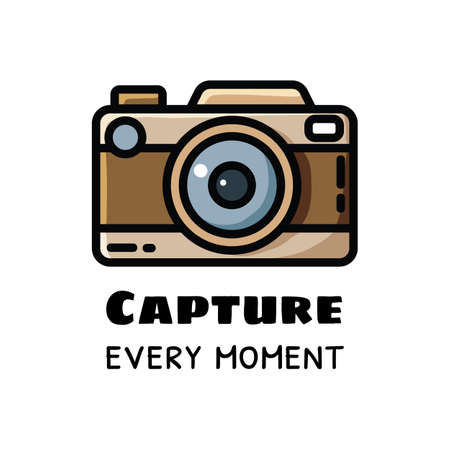 Capture every moment photo camera logo. Vintage or retro camera, vector flat image 向量圖像
