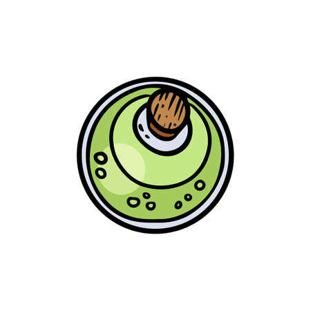 Magic potion cartoon bottle icon top view. Bottle jar with green brew cute Halloween symbol. Comic style alchemy pictogram for web, mobile, infographics