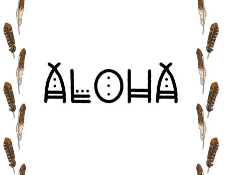 Aloha boho indigenous typography with feathers border seamless pattern. Freehand owl or hawk quill background. Vector illustration. Letter format decoration background texture tile