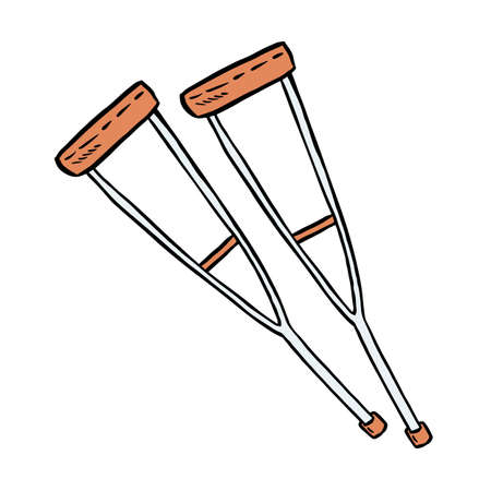 Crutches for disabled people doodle. Walking support vector glyph graphic symbol. Isolated on white background icon
