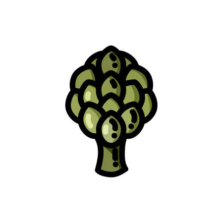 Artichoke flat outlined icon. Vector vegetable logo isolated on white background. Vegan food symbol, glyph for web 向量圖像